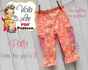 Patty Lee, Gir's Ruffle Pants Pattern, Toddler Ruffle Capris Pattern, Girl's Sewing Pattern, Toddler Pants Pattern,Baby pdf Sewing Pattern