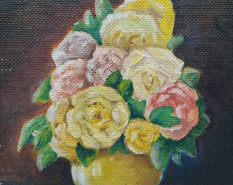 Small Vintage Original Oil Painting, Still Life of Roses, signed Bona