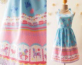 My Carousel Dress Baby Blue Tea Dress Carnival Dress Party Dress Cute Summer Dress Circus Bridesmaid Dress Carnival Wedding  -XS-XL,Custom