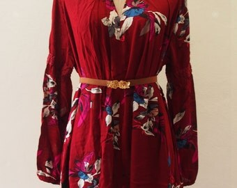 Boho Dress, Bohemian Dress, Asymmetric Hem Dress, Boho Floral Dress Maroon Red Over Size Camping Girl Look  - Free size between US4-US8