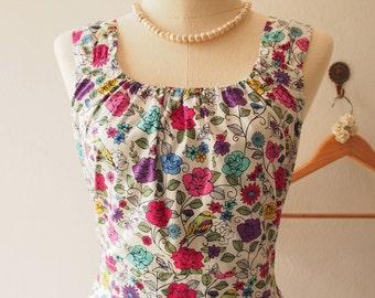 Floral Vine : Floral Dress, Vintage Inspired, Floral Bridesmaid Dress, Floral Tea Dress White, XS-XL, Custom