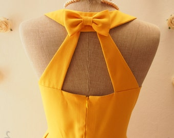 Yellow Dress, Audrey Hepburn Yellow Party Dress, Bright Mustard Dress, Backless Dress, Yellow Bridesmaid Wedding Summer Dress, Love Potion
