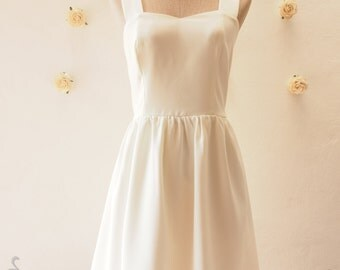 White Sundress Vintage Modern Dress White Summer Party Dress Bridesmaid Dress, custom
