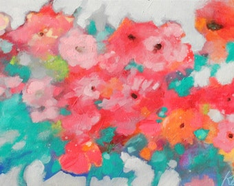 """Colorful Loose Red Flowers on Canvas, Original Abstract Floral Painting """"All Together Now"""" 12x24"""""""