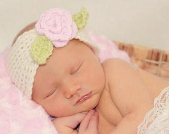 Newborn crochet turban style headband with pink rose.  Newborn baby girl photography prop.  Baby girl baby shower gift.  Photo prop.