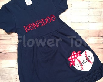 St. Louis Cardinals Dress glittery heart baseball dress - STL, monogrammed, applique, baseball, Cards, custom