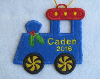 Personalized Christmas Train Ornament or Gift Tag