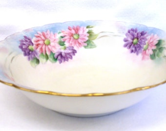Silesia Serving Bowl, Handpainted Pink and Purple Flowers, Early 1920's
