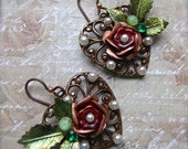 Chocolate Ox Brass, Chocolate Filigree, Chocolate Heart, Heart Earring, Heart Assemblage, Heart and Rose, Rose Assemblage, Rose Filigree