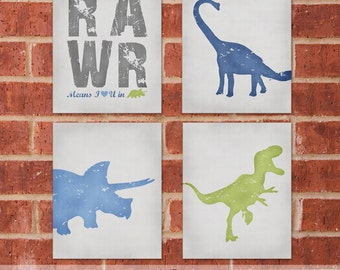 Dinosaur Canvas - Set of Four 11x14 - Trex Canvas - Blue Dinosaur Art -  Designer Set 12