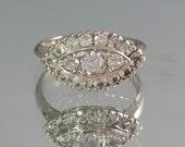 Vintage 10K White Gold Diamond Spinel Princess Ring