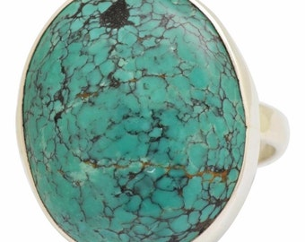 Natural Blue Turquoise Gemstone Ring Solid 925 Silver Jewelry Size 8  SALE!  PRICE SLASHED!