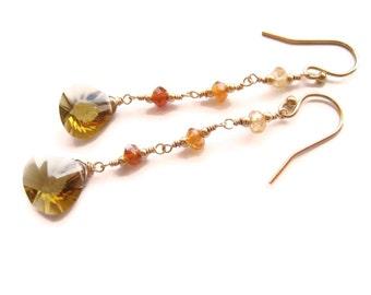 Honey Quartz Earrings Yellow Quartz Earrings Faceted Golden Quartz Earrings Dangle Earring Drop Earring Fall Trends Gift Idea For Her