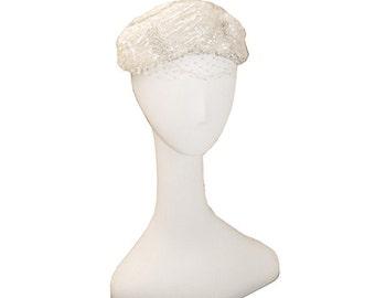 1960s Pillbox Hat in Cream, Beaded, Sequins, Vintage Wedding Hat