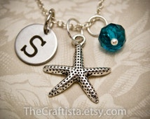 Personalized Star Fish Necklace with Initial Charm & Birthstone, Star Fish Necklace, Star Fish Charm,Star Fish Pendant,Starfish Mascot Charm