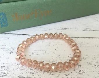 Pink beaded bracelet, bridesmaid bracelet, wedding bracelet, glass bead bracelet, gifts for women, friendship gift, gift for her, Etsy UK