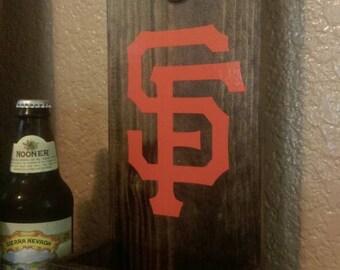 Bottle opener plaque, sports team logo, rustic iron, football, baseball, basketball, groomsmen gift, wedding gift, bride