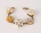 Wedding Bracelet, Vintage Earring Bracelet, Repurposed Bracelet, Bridal Bracelet, Gold Pearl Bracelet, Art Deco Bracelet, Rhinestone Jewelry