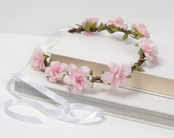Pale pink floral headband halo - wedding hair piece, bridal hair wreath, flower crown, whimsical head piece, rustic garden spring woodland