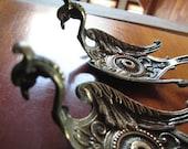 Pair of Antique Brass Peacock Curtain Tiebacks