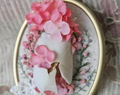 Doll Maker: Porcelain Bisque Doll x Large Embroidered Framed Pin Brooch