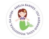 Mermaid Address Labels - Personalized Address Labels for Kids - Mermaid Stickers - Kids Mailing Labels - Round Return Address Labels