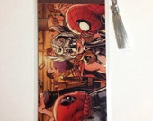 Upcycled Deadpool, Spiderman, Thor, and Shiklah Comic Book Bookmark