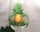 Pineapple hand painted wine glass
