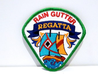 Rain Gutter Regatta Embroidered patch vintage Sailing Ship Boat sew on patch Nautical Cub Boys Scouts of America Event 80s 1990s Oklahoma