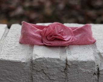 Baby/Toddler Fabric Flowered Stretchy Headband--Red