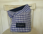Lingerie bag, travel laundry bag, dirty clothes bag, checkered blue bag, personalized gift, custom label