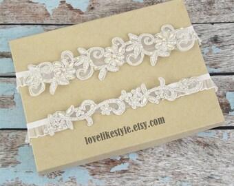 Wedding Garter, Light Gold Pearl Beaded Lace Wedding Garter Set, Ivory Lace Garter Set, Light Gold  Wedding Garter, Champagne Wedding Garter