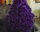 SPRING SALE - Royal Amethyst Purple - Purple Long Curly  Hair - Approx 30 Inches - Emo - Cosplay - Rockabilly - Durable - Priority Mail
