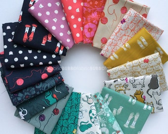 Cat Lady Fat Quarter Bundle by Sarah Watts for Cotton and Steel Fabrics, COMPLETE