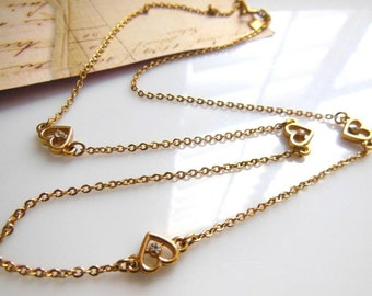 Vintage Signed Hallmark Gold Tone Clear Rhinestone Heart Station Chain Necklace