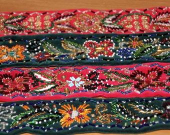 All Hand sew Beaded Belt Hand Made Stitching Belt Flower details Girdel Belt Velvet Beaded Belt Flower Folk Belt Hippie Belt Gypsy Belt