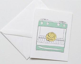 Pregnancy Congratulations Card, Baby Card, Bun in the Oven Card, Pregnant Card