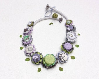 Fiber rustic necklace, pastel crochet jewelry with fabric buttons - green, purple, gray - OOAK