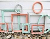 Set of 10 Upcycled Frames - Mint, Antique White, and Coral - Wall Gallery - Nursery - Wedding - Vintage Frames - Frame Set - Scatter Frames