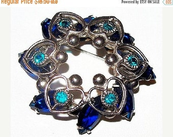 "Blue Rhinestone Brooch Pin Silver Metal Heart Decorations Tiered Open Wreath 2"" Vintage"