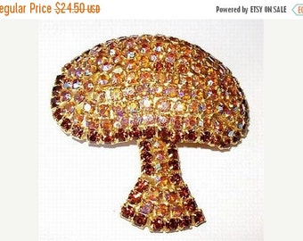 "Rhinestone Mushroom Brooch AB Topaz Amber Rhinestones Gold Metal High End 2 1/4"" Vintage"