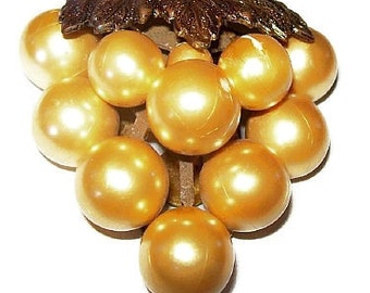 "Art Nouveau Dress Fur Clip Brooch Golden Faux Pearls Brass Metal 2.5"" Vintage"