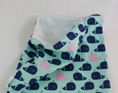 Pink and Navy Whales PUL Lined Wet Bag with Zipper Close