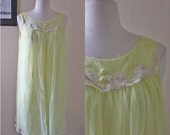 Yellow Sheer Nightie // 70s Vintage 80s Nightie Guaze Nightgown Teddy Retro Lace Neck Slip Lingerie // XS S M XSmall Small Medium Large