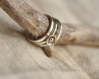Flower bud sterling silver ring trio, unique, hand forged