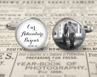 Custom Groom Cufflinks,Custom Photo Accessories, Wedding Cufflinks, Our Adventure Begins