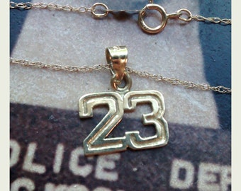 Lucky 23 Pendant On a Chain - 14k and 10k Yellow Gold