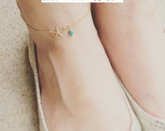 Starfish Ankle, 14K Gold Filled Starfish Link Ankle, Gold Starfish Ankle, Summer Beach Jewelry, Beach Jewelry, Everyday Wear