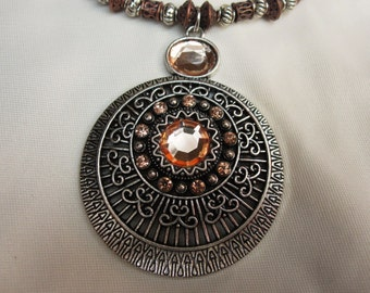 Unique Antique Silver Aztec Pendant set on stunning Copper and Antique Silver Beaded 18 Inch Necklace with a Sturdy Magnetic Clasp