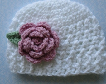 Crochet baby hat; white baby hat; baby girl flower hat; knitted baby hat; 0-3 month baby hat; ready to ship; knit hat 0-3 month; UK seller.